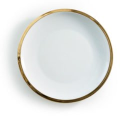 gold edge dinner plate hire