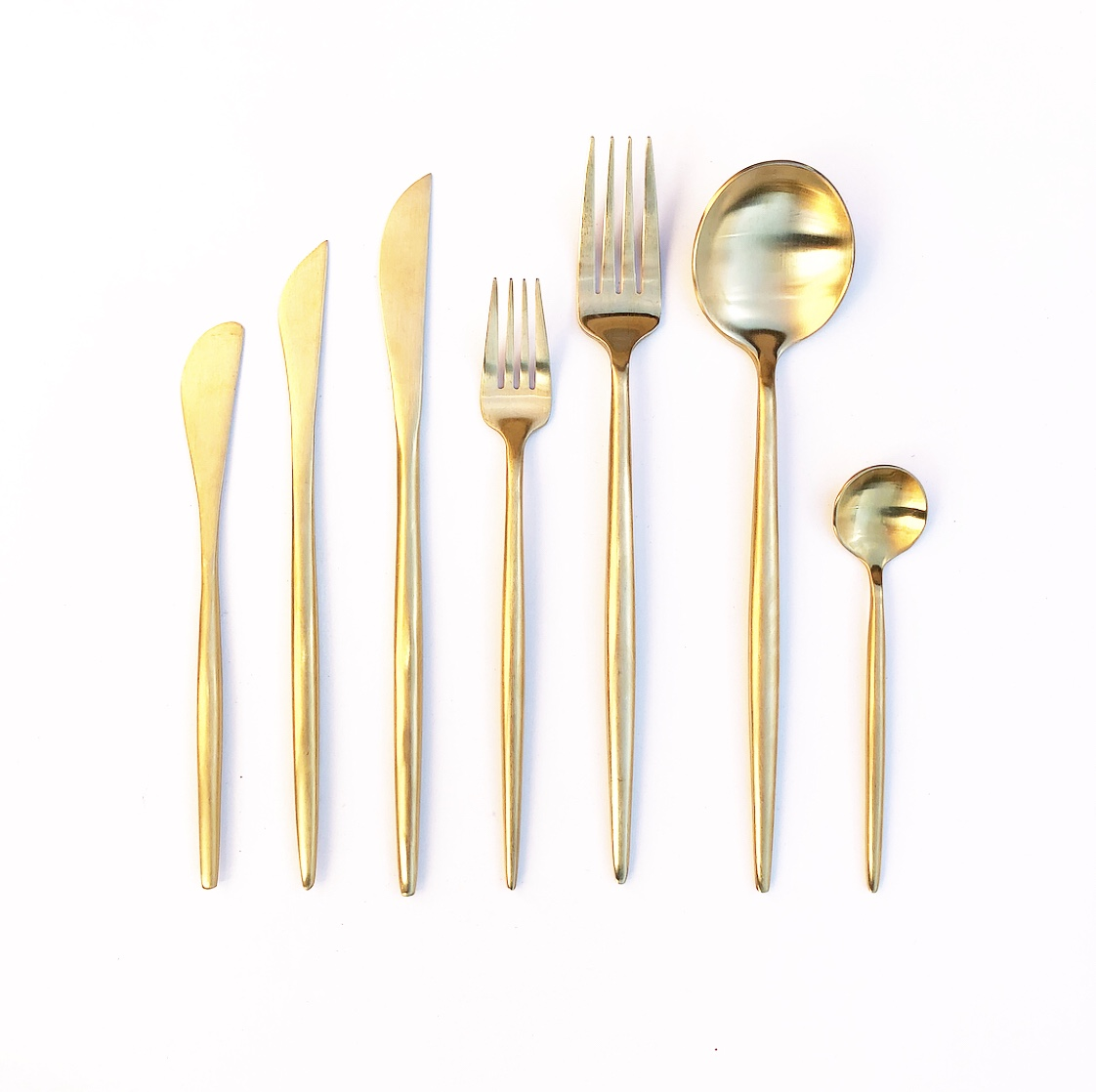 Brushed Gold Cutlery Hire