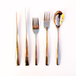 rose gold cutlery hire