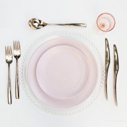 pink dinner plate hire