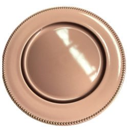 Rose gold charger plate hire