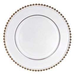 gold beaded charger plate hire