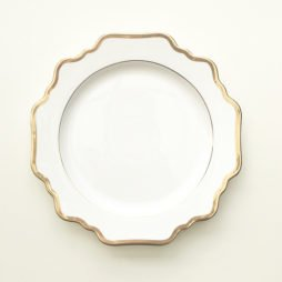 white and gold dinner plate hire