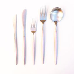 pink and silver cutlery hire