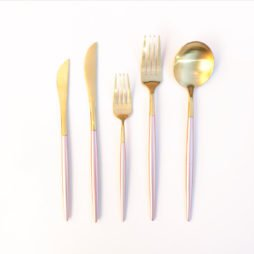 pink and gold cutlery hire