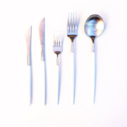 white and silver cutlery hire