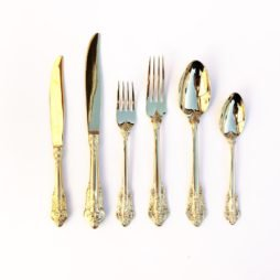 vintage gold cutlery hire