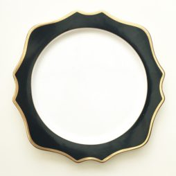 black and gold charger plate hire