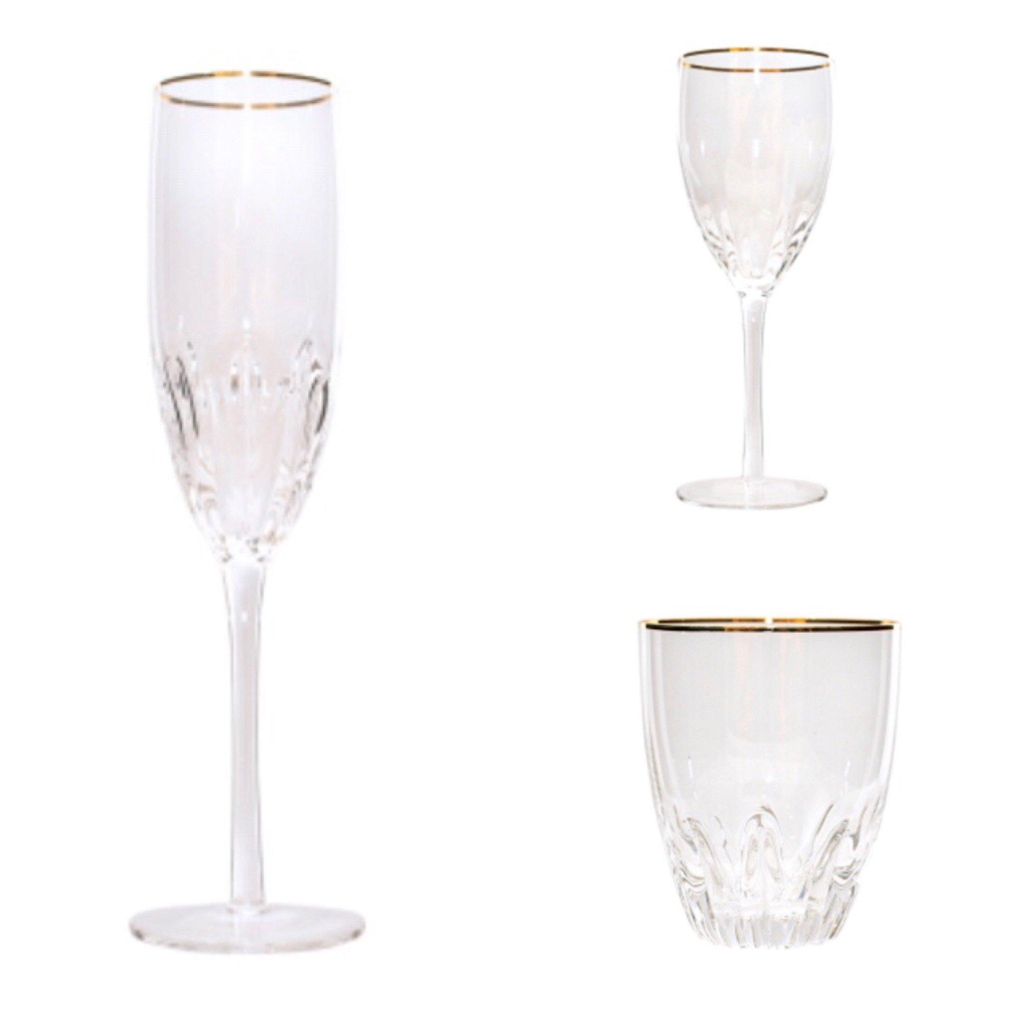 Gold Rim Glassware Set