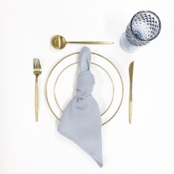 blue and gold tableware